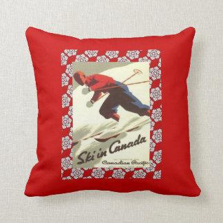 Vintage Ski Poster, Ski in Canada Throw Pillow
