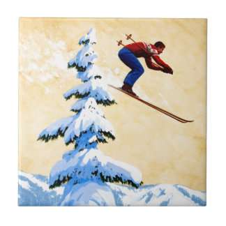 Vintage Ski Poster, Ski jumper and pine trees Ceramic Tile