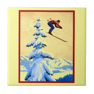 Vintage ski poster, Ski jumper and pine trees Ceramic Tile