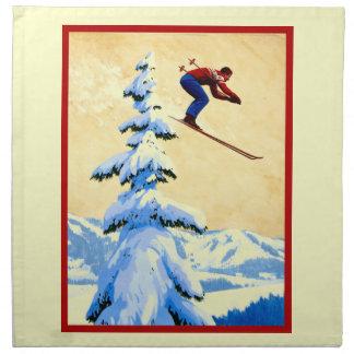 Vintage ski poster, Ski jumper and pine trees Cloth Napkin