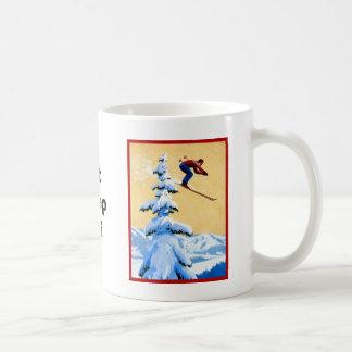 Vintage Ski Poster, Ski jumper and pine trees Coffee Mug