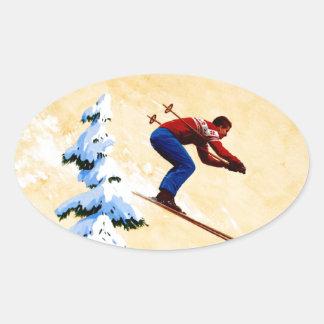 Vintage Ski Poster, Ski jumper and pine trees Oval Sticker