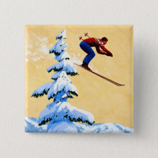 Vintage Ski Poster, Ski jumper and pine trees Pinback Button