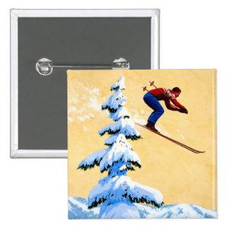 Vintage Ski Poster, Ski jumper and pine trees Pinback Button