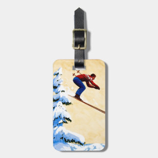 Vintage Ski Poster, Ski jumper and pine trees Tag For Luggage