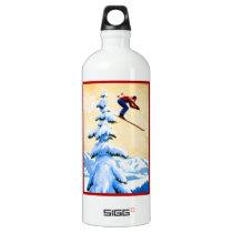 Vintage Ski Poster, Ski jumper and pine trees Water Bottle