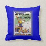 Vintage Ski Poster, Ski Mad RIver Creek Throw Pillow