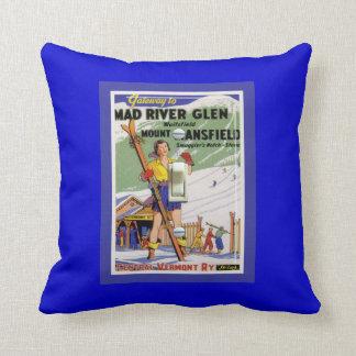 Vintage Ski Poster, Ski Mad RIver Creek Pillow