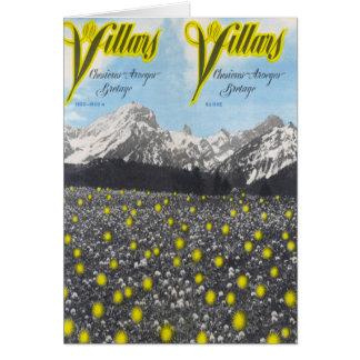 Vintage Ski Poster,  Ski Villars Card