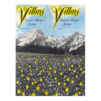 Vintage Ski Poster,  Ski Villars Postcard