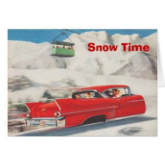 Vintage ski poster,   Snow time Card