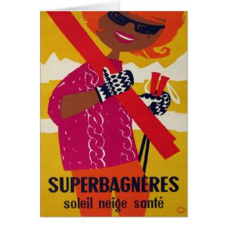 Vintage ski poster, Superbagneres Card