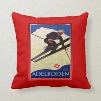 Vintage Ski Poster, Switzerland, Adelboden Pillow