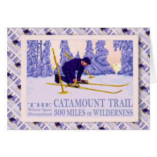 Vintage Ski poster, The Catamount Trail Card