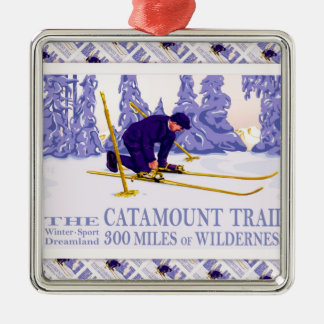 Vintage Ski poster, The Catamount Trail Metal Ornament