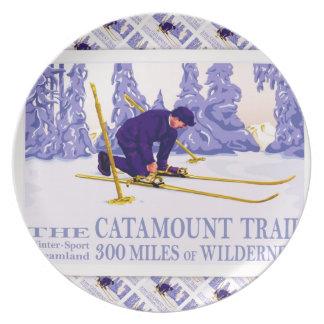 Vintage Ski poster, The Catamount Trail Dinner Plate