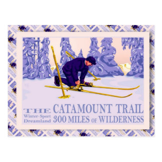 Vintage Ski poster, The Catamount Trail Postcard