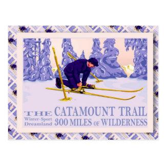 Vintage Ski poster, The Catamount Trail Postcard