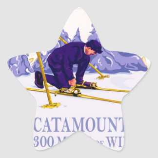 Vintage Ski poster, The Catamount Trail Star Sticker