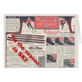 Vintage ski poster,  Tis the season to ski Card