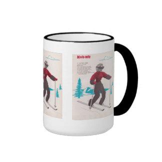 Vintage Ski posters, Knit-wit skier Coffee Mugs
