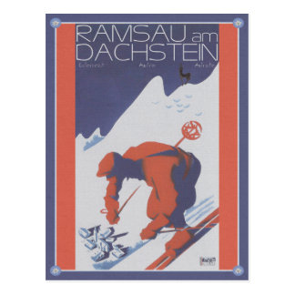 Vintage ski RAM sow at the roof stone Post Cards