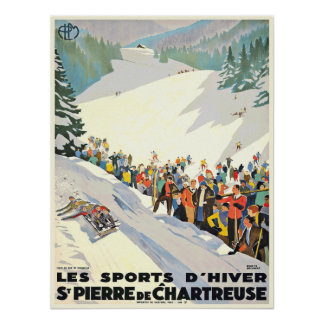 Vintage Ski Resort Poster from Switzerland