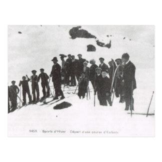 Vintage Ski,  Ski lesson for young people 1900 Postcards