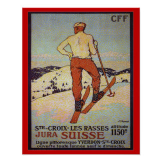 Vintage Ski  St Croix les rasses, Jura Suisse Poster