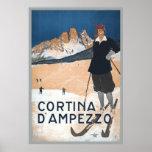 Vintage Ski Travel ad Cortina d'Ampezzo Poster