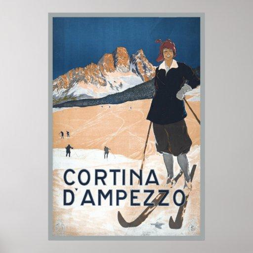vintage ski travel ad cortina d u0026 39 ampezzo poster