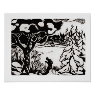 Vintage ski  Woodcut, skier in the forest Print