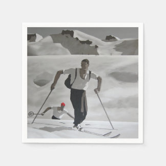 Vintage skier white snow mountains wintersports paper napkin