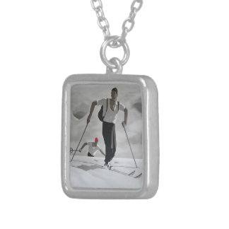 Vintage skier white snow mountains wintersports silver plated necklace