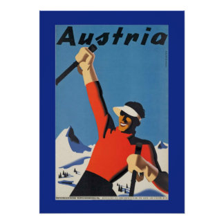 Vintage Skiing in Austria Poster