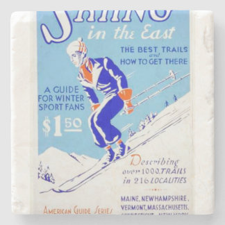 Vintage Skiing in the East WPA Poster Stone Coaster