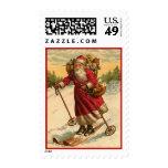 Vintage Skiing Santa Postage