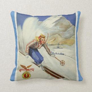 Vintage Skiing Travel Art Pillow