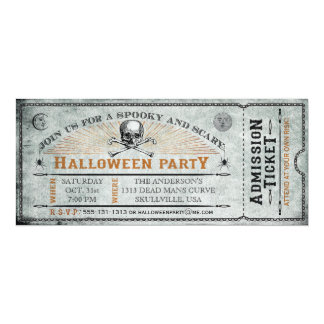 Vintage Skull and Bones Halloween Party Ticket 4x9.25 Paper Invitation Card