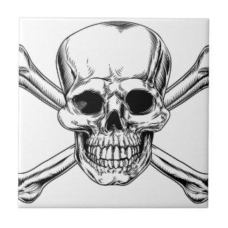 Vintage Skull and Crossbones Sign Ceramic Tiles
