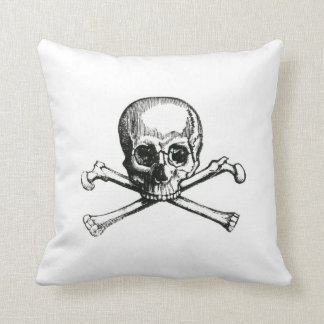 Vintage skull and crossbones throw pillow