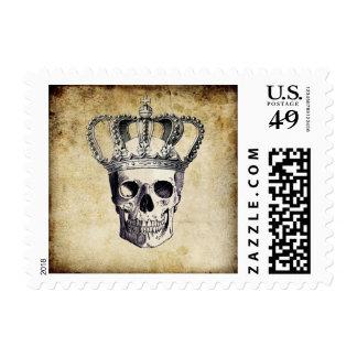 Vintage Skull and Crown Postage Stamp