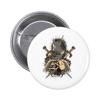 vintage skull and dagger design vector 2 inch round button