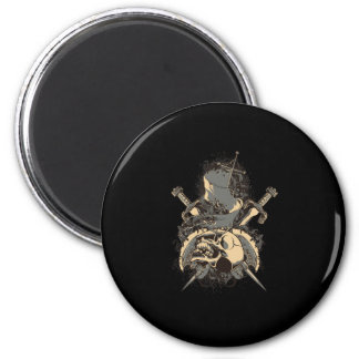 vintage skull and dagger design vector 2 inch round magnet