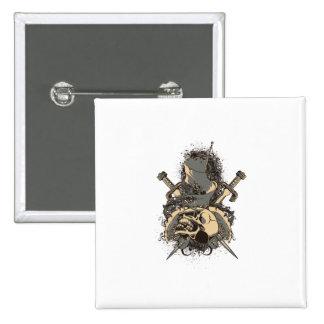 vintage skull and dagger design vector 2 inch square button