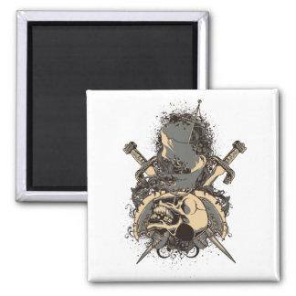 vintage skull and dagger design vector 2 inch square magnet