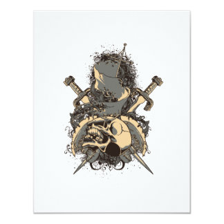 vintage skull and dagger design vector 4.25x5.5 paper invitation card
