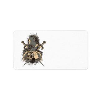 vintage skull and dagger design vector address label