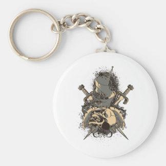 vintage skull and dagger design vector basic round button keychain