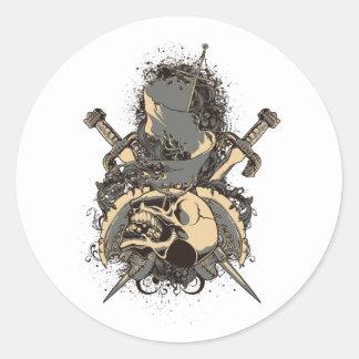 vintage skull and dagger design vector classic round sticker